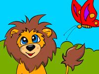 раскраска львенок и бабочка